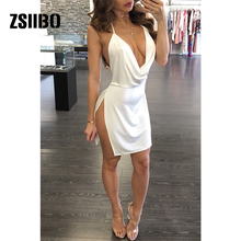 9823030a345d 2018 summer solid color white wine red backless strap dress side open deep  V-neck