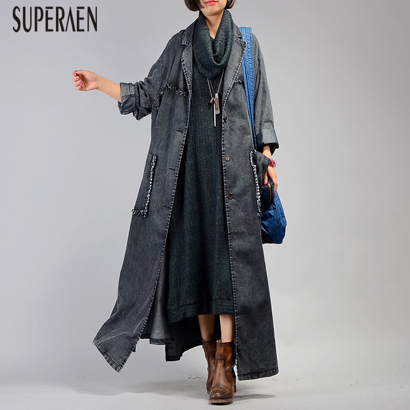 SuperAen Europe Fashion Denim   Trench   Coat for Women Pluz Size Solid Color Casual Women Windbreaker Spring New 2019 Women Clothes