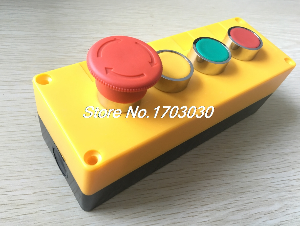 AC 400V 240V Red Green Yellow Emergency Stop Mushroom Switch Push Button Station ac 600v 10a normal close plastic shell red sign emergency stop mushroom knob switch 22mm elevator emergency stop switch