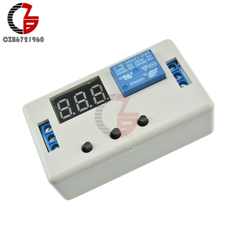 Digital LED Display DC 12V Time Delay Relay Module Programmable Timer Relay Control Switch Trigger Cycle with Case 1pc multifunction self lock relay dc 5v plc cycle timer module delay time relay
