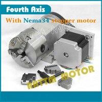 Nema34 stepper motor Fourth 4th axis A axis Dividing head 3:1 CNC Router Rotational Axis Engraving machine 3jaw K11 100mmchuck