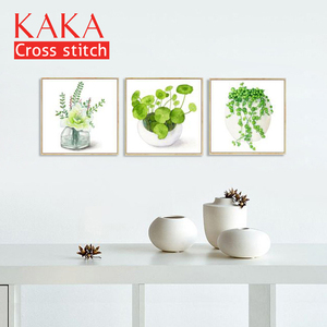 Image 2 - クロスステッチキット、刺繍裁縫セット、 DMC 11CT 印刷されたパターン家の装飾絵画、花 CKF0065