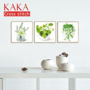Image 2 - Наборы для вышивки крестиком, наборы для вышивки, DMC 11CT холст с напечатанным рисунком для домашнего декора картина, цветы CKF0065