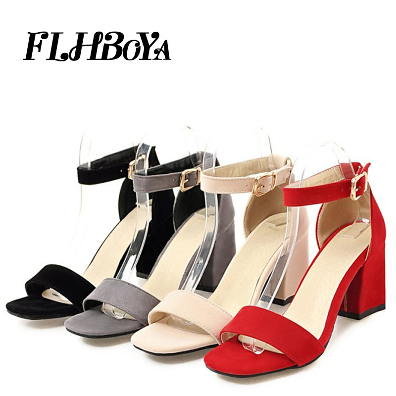 Sandals women 2019 summer med square chunky heels red black Buckle ankle strap high Block heel open toe party sandals woman pump full body u pillow