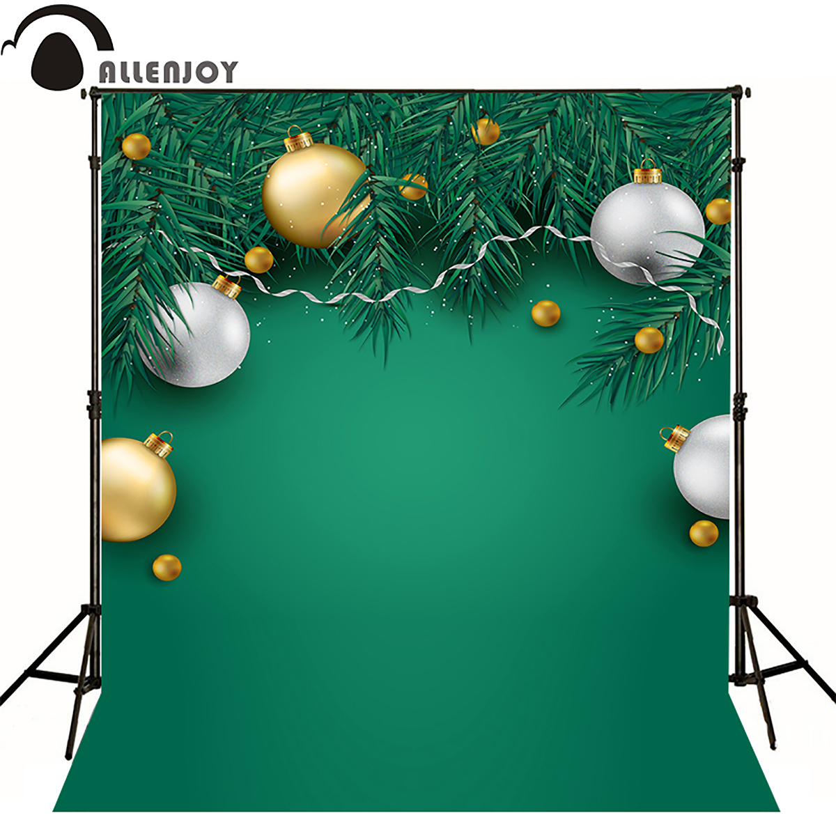 Allen joy christmas photography backdrops green winter xmas new year lamp newborn baby shower snow background Discount sale