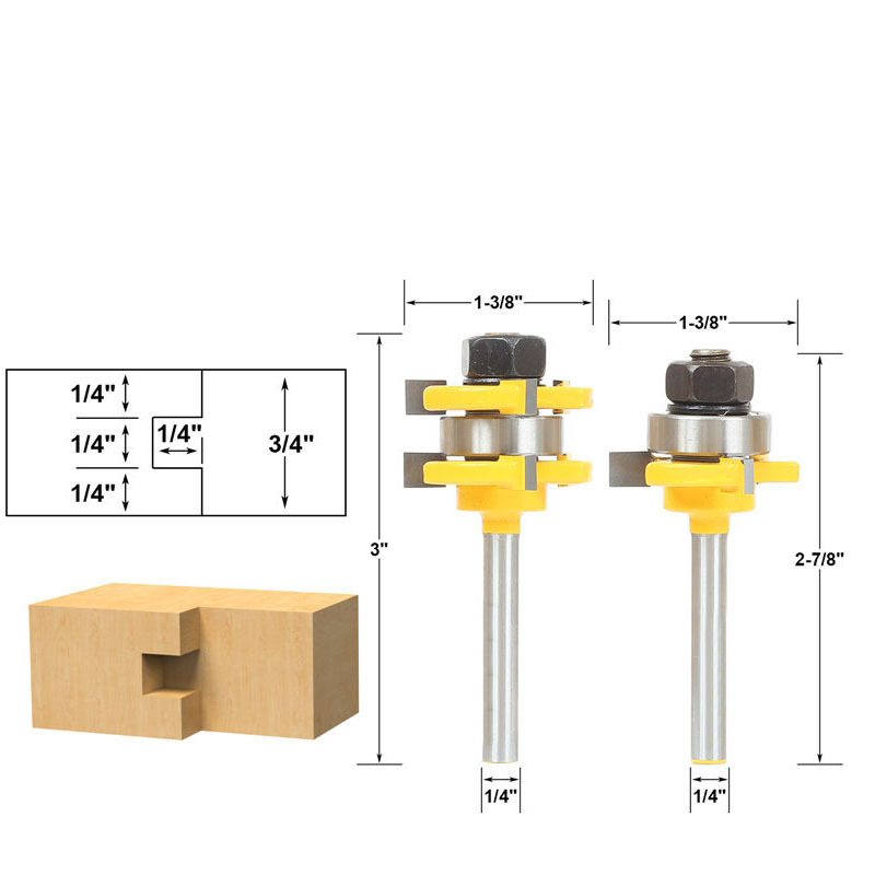 Free shipping 2pc 1/4 Shank high quality Tongue and Groove Joint Assembly Router Bit Set Stock Wood Cutting Tool 2pcs high quality 1 4 shank tongue