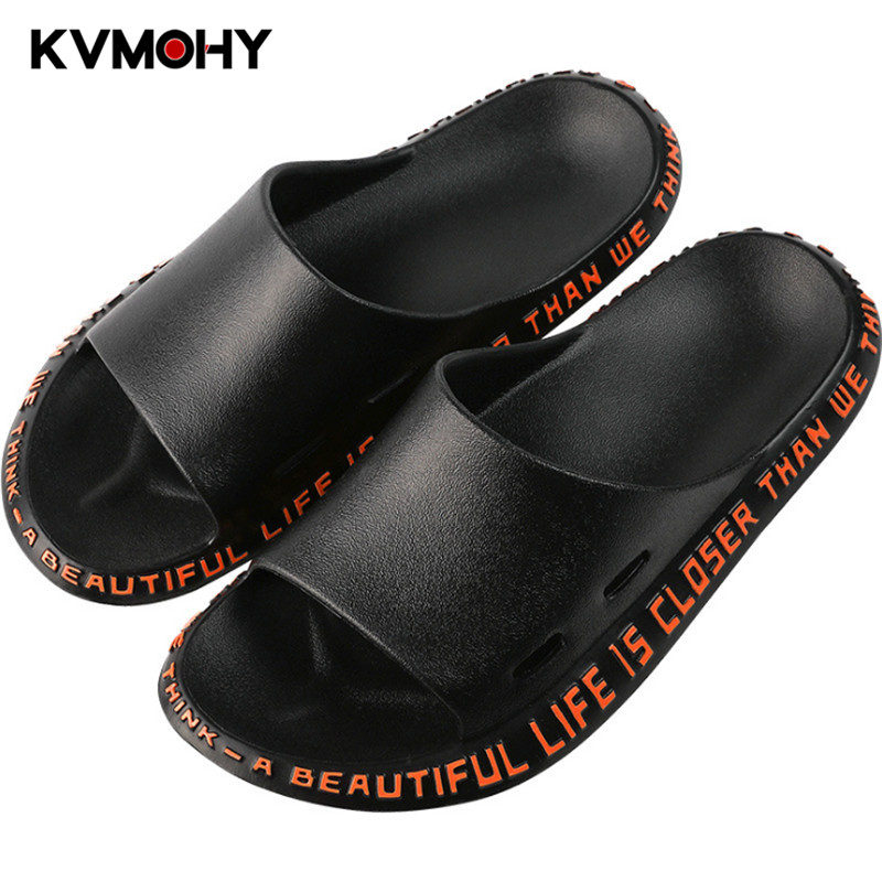 Man Shoes Men Slippers Summer Beach Male Slides Non-slip Flip Flops Outdoor Indoor Sandals For Couple Alphabet Design Green