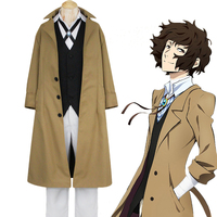 Anime Bungo Stray Dogs Osamu Dazai Cosplay Costumes Trench Coat Pants Vest 7 IN 1 Set Outfit Adult Men Outfit Unisex Clothing