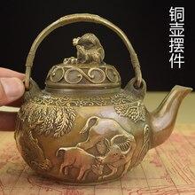 Copper antique teapot small kettle pot pot to do the old bull farming brass pot room decoration sweeten the pot