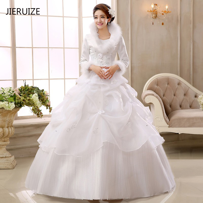 JIERUIZE White Organza Ball Gown Cheap Muslim Wedding Dresses Long Sleeves Winter Warm Wedding Gowns Vestido De Novia