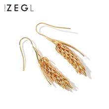 Pendientes femeninos ZEGL, pendientes dorados de trigo, modelos de ráfaga de pendientes largos, Pendientes colgantes de estilo europeo y americano rural