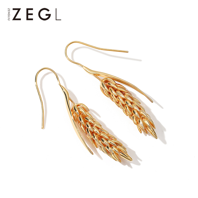 ZEGL female earrings gold earrings wheat ear burst models long earrings pendant earrings European and American niche rural style