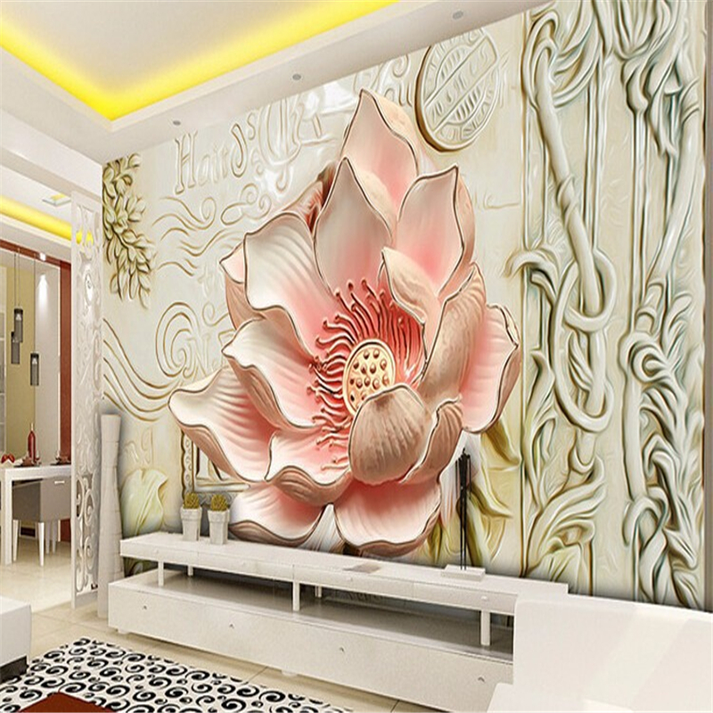 Beibehang photo wallpaper relief lily magnolia for Wallpaper home wall
