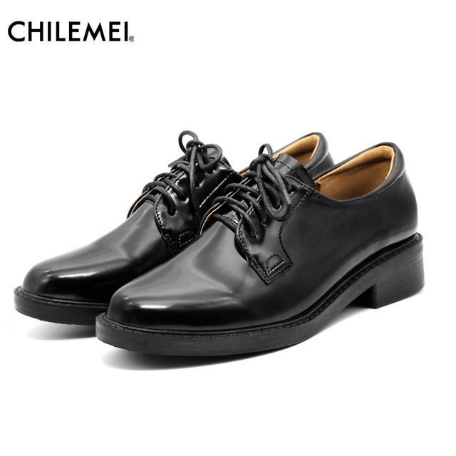 CHILEMEI Women Shoes Black Patent Leather Lace Up Pumps School Shoes Casual  Design Bullock Shoes British Style 25ac246ac