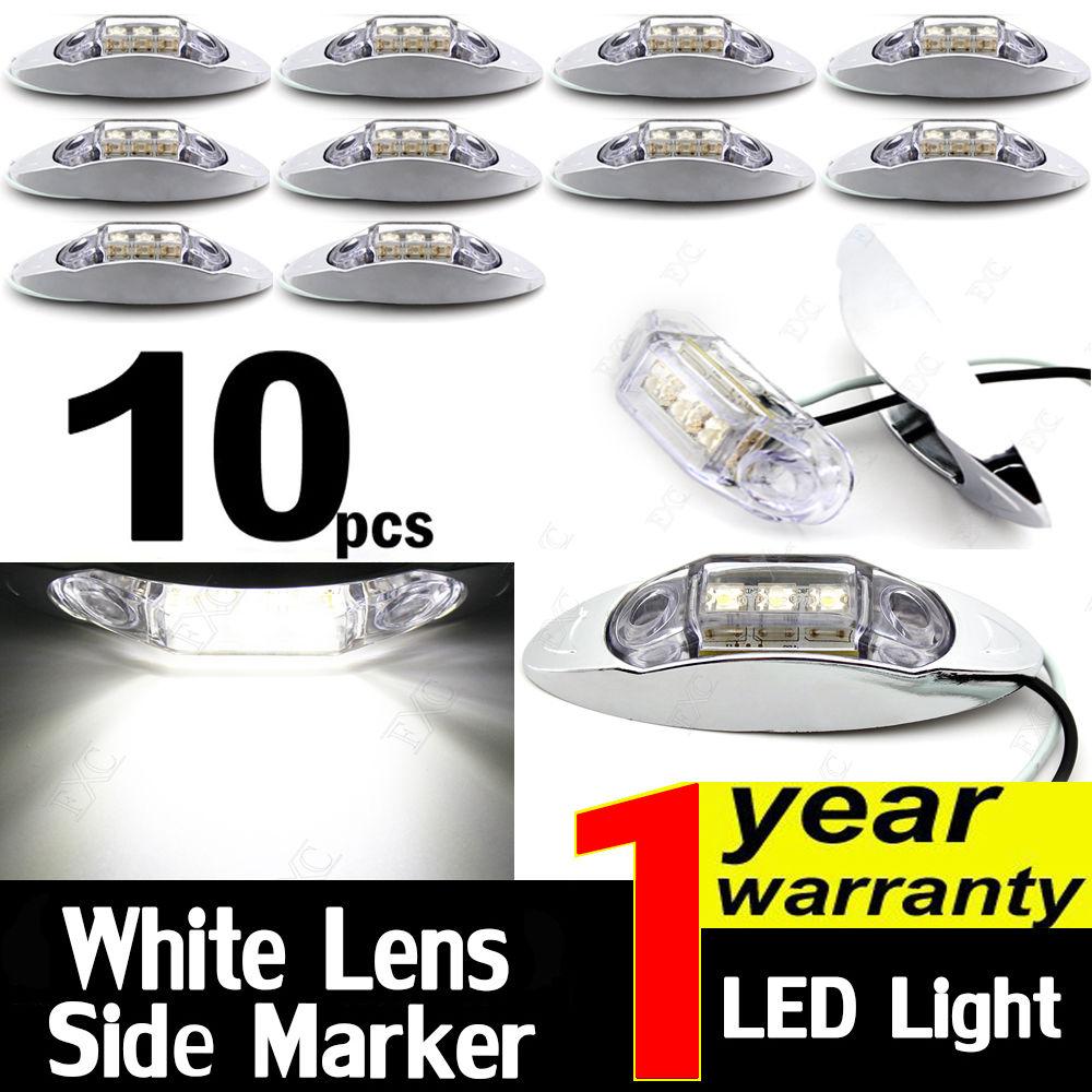 CYAN SOIL BAY 10X WHITE 10V-30V Side Light 3 LED Marker Trailer Clearance Lamp Chrome Base For Truck SUV Boat Universial
