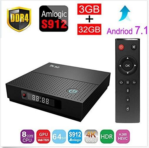 TX92 Amlogic S912 octa-core Android 7.1 TV Box 3 GB/64 GB DDR4 BT 4.1 Bluetooth 2.4G 5G WiFi tx92 4 K HD KODI17.3 vs h96 pro