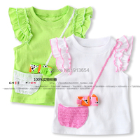 new 2014 summer girls clothes super cute baby girls ruffle sleeve T-shirt tops child short-sleeved bow T-shirts pullover