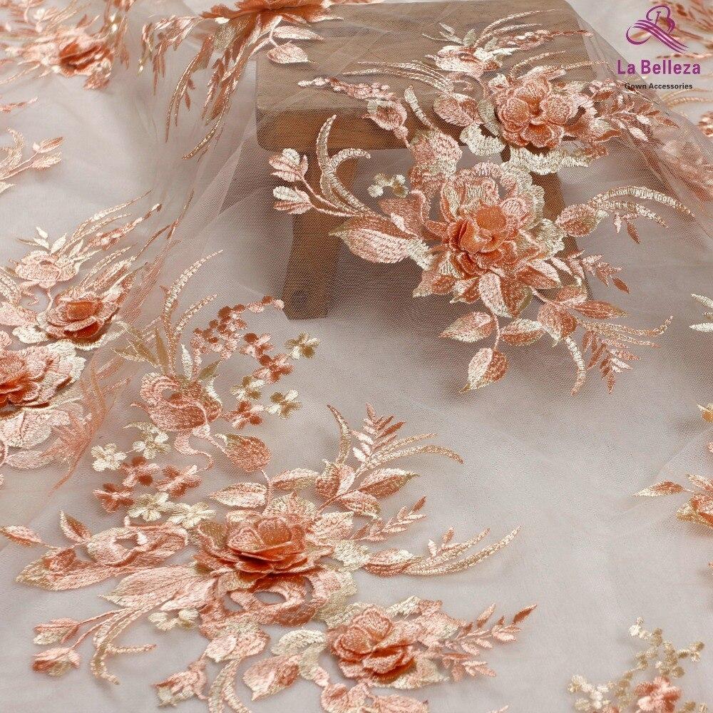 La Belleza New Design Lace ,Orange 3D Flowers Lace Fabric,rose Pink 3D Flowers Lace Fabric Evening Dress Lace Fabric 1 Yard