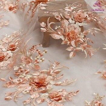 La Belleza nuevo diseño de encaje, naranja 3D flores tela de encaje, rosa 3D flores tela de encaje vestido de noche tela de encaje 1 yarda