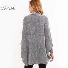 COLROVIE Batwing Oversized Sweater Open Front Cardigan