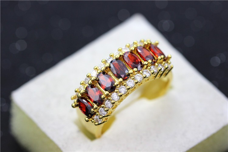 Uloveido Valentine's Day Gift Womens Silver Plated Red Wedding Large Colored Ring Red Green Zircon Sets Ringen Jewelry 2016 J501 9