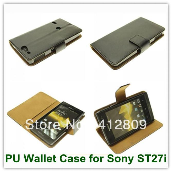 1PCS Black PU Wallet Folio with TV Stand Style Back Skin Covers Case for Sony Xperia GO ST27i Free Shipping