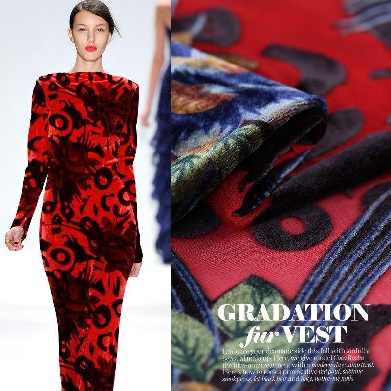 Europe And The United States Spring And Autumn Burnt-out Silk Velvet Fabric Silk Velvet Cloth Silk Dress Cheongsam Dress Fabric