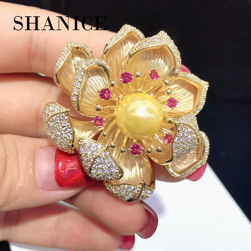 SHANICE Luxury pearl brooch pins copper with cubic zircon gold lotus brooch pins office career fashion women jewelry Gifts baroque natural fresh water pearl brooch pins copper with cubic zircon maple leaf brooch pins office career fashion women jewel