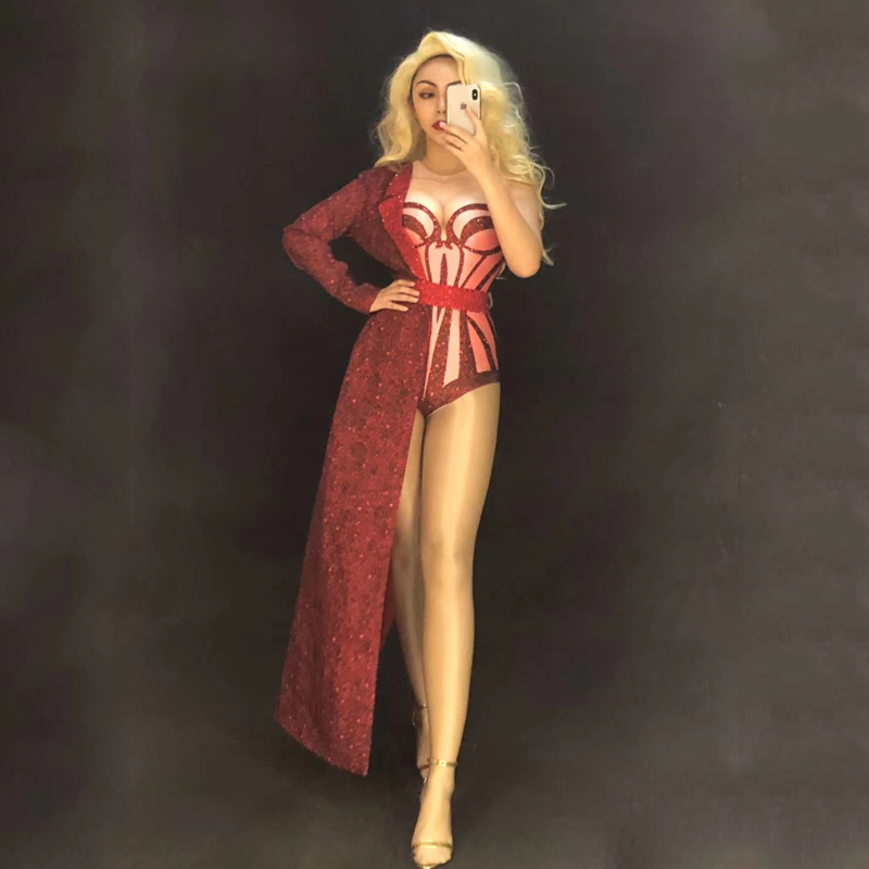 New DJ Costumes Sexy Red Bodysuit Stage Dance Wear Leotard With Long Coat Performance Outfit For Women Rave Bodysuit 2pcs DJ504