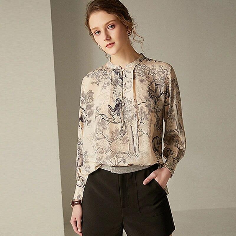 Women/'s Patterned Silk Shirt Vintage Short Sleeve Button Up Shirt Large Size Silk Blouse Classic Women/'s Shirt Comfortable Silk Shirt