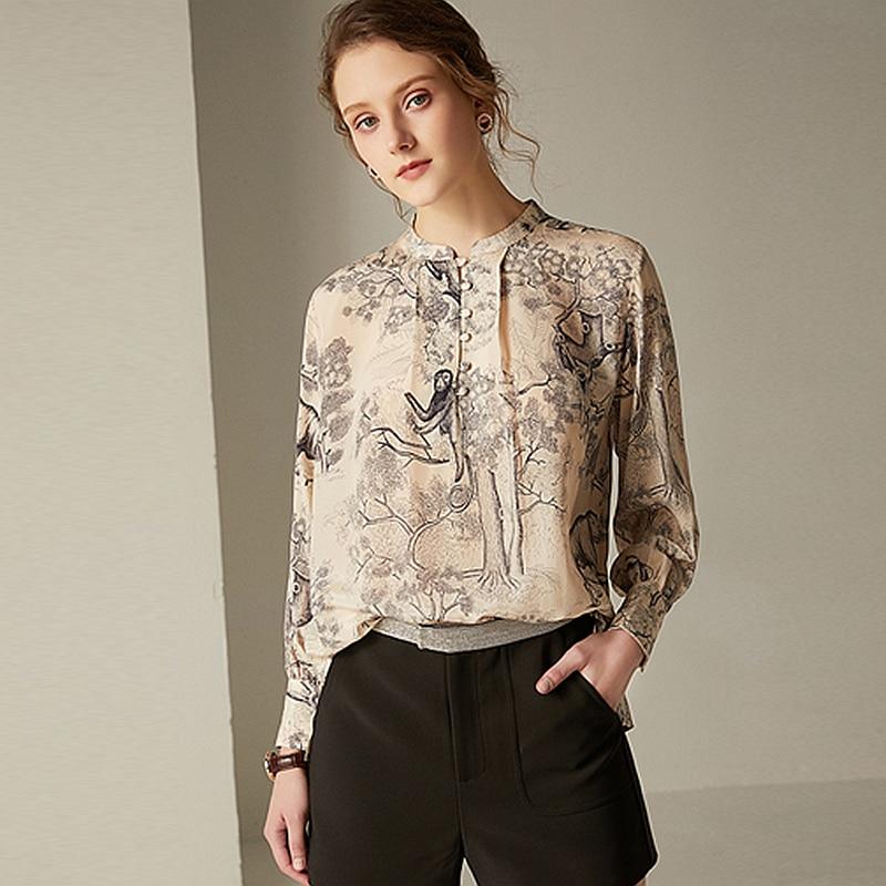 100% soie Blouse femmes grandes tailles chemise Vintage imprimé bouton O cou à manches longues pull Top nouvelle mode printemps 2019
