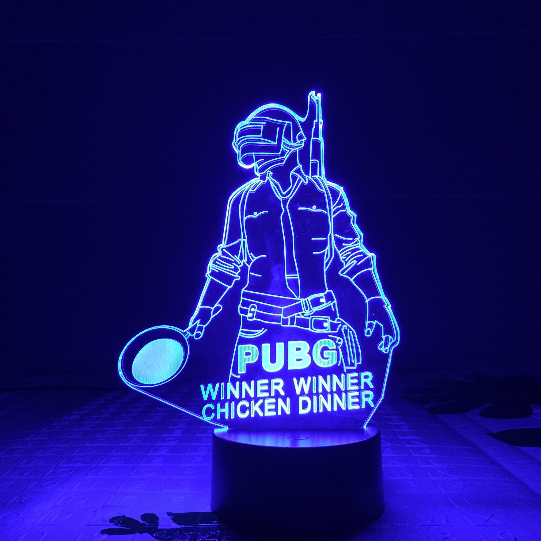 FPS Game Player PUBG Figure 3D Led Night Light Battlegrounds ...