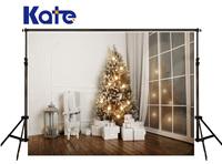 Kate Christmas Backdrop Photography White Gift Box Photography Background Windows Lamp Spot Wood Backdrops Photography Studio