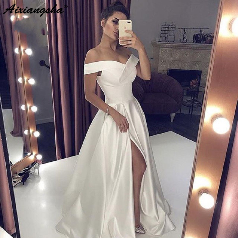 Sexy Evening Dress 2019 Neck Long White Prom Dress With High Split Elegant A line Off