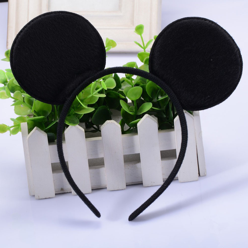2pcs Hair Accessories Mickey Minnie Mouse Ears Solid Black ...