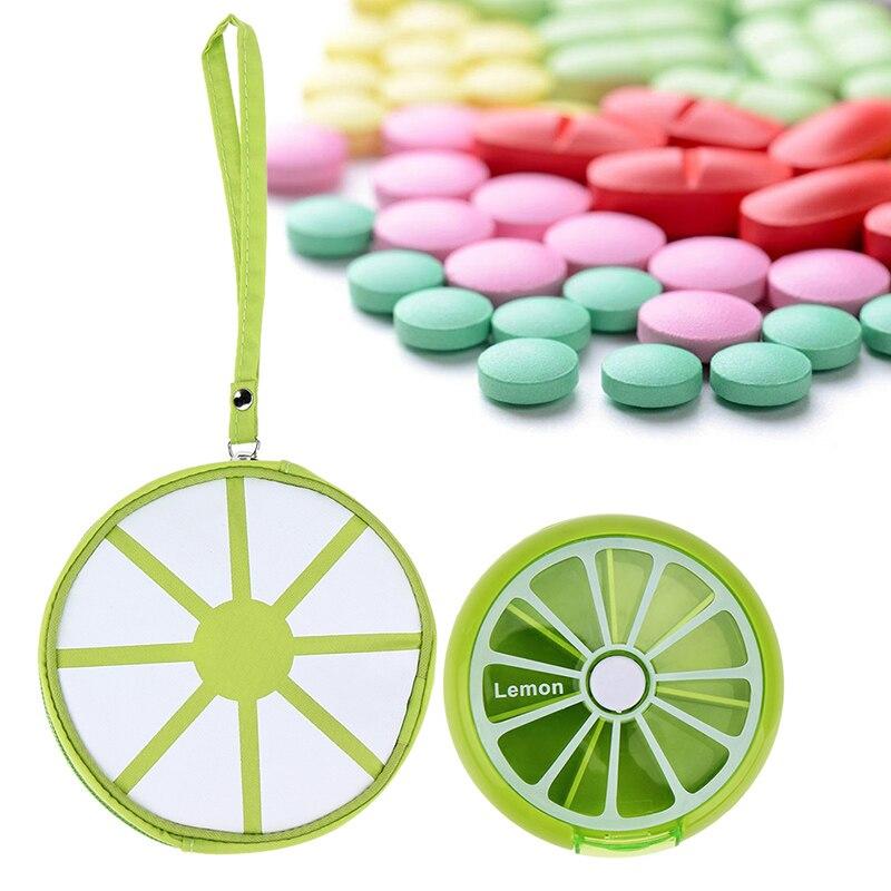 Вращающийся Pill контейнер 7 дней прекрасный фруктовый узор круглые таблетки Pill еженедельно держатель + лекарствами наркотиков Pill Box