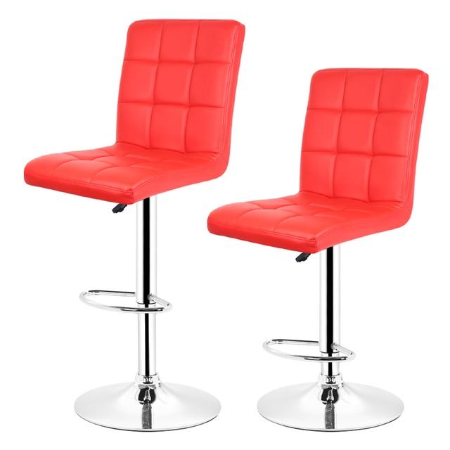 Jeobest 2pcs Leather Kitchen Bar Stools Red Mini Adjule Chair Breakfast Stool
