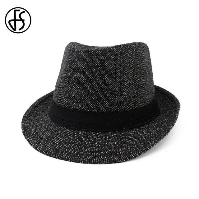 11a9a8a6983 FS 2018 Autumn Black Fedora Hat Men Women Wool Felt Gangster Hat Vintage  Church Wide Brim With Ribbon Ladies Winter Fedoras