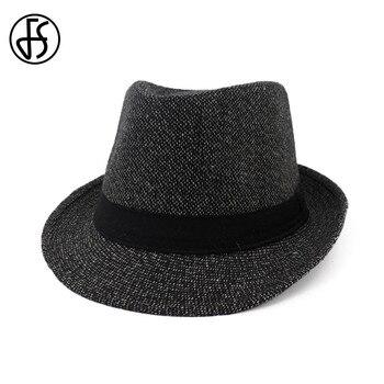 FS 2018 otoño negro Fedora sombrero hombres mujeres fieltro de lana  gángster sombrero Iglesia Vintage ala ancha con cinta señoras invierno ala 46223ddd977
