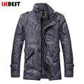 LKBEST длинные мужская кожаная куртка 2017 зима теплая мужская кожаная куртки и пальто мода PU куртка плюс размер L-3XL (PY04)
