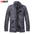 LKBEST long men leather jacket 2017 winter warm men's leather jackets and coats fashion PU pilot jacket plus size L-3XL(PY04)
