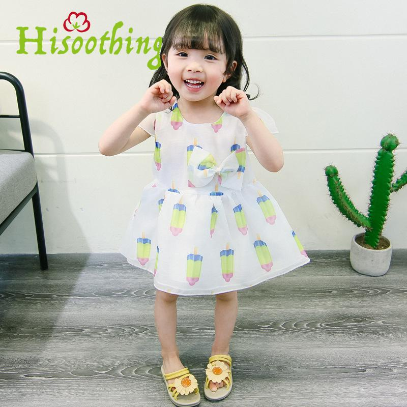 Female Baby Summer 2018 Cute Girls Dress Cool dress Korean Short Sleeved Popsicles Cartoon print dress Sheer bow princess dress mesh sheer slip babydoll dress