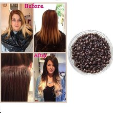 Woman Human Hair Extensions Before and After Silicone Microlinks Nano Rings Beads Suitable For Nano Tip Ring 200pcs/bag 3.0mm(China)