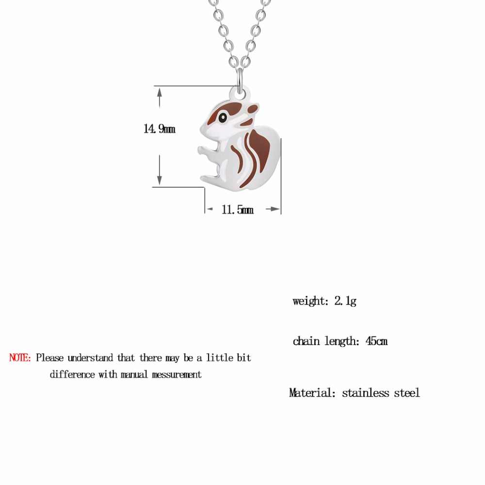 QIAMNI Stainless Steel Tiny Baby Squirrel Necklace Pendant Chipmunk Squirrel Animal Necklaces for Women Collars Pet Lover Gift