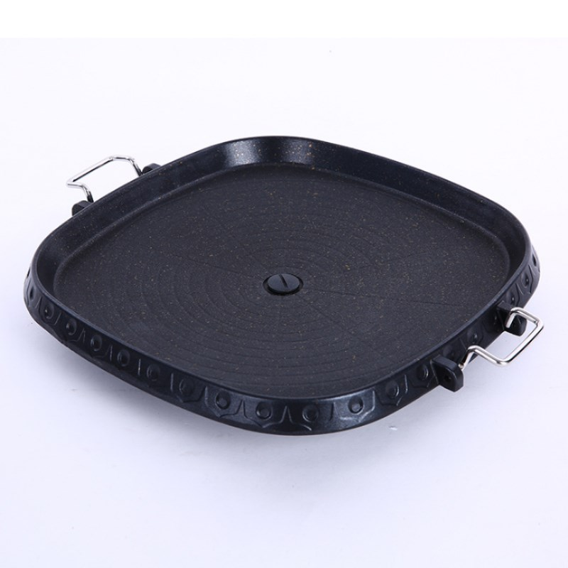 Korean Square Barbecue Plate Steak Frying Pan Barbecue Maifan Stone Baking Tray Home Wild Portable Barbecue Tray