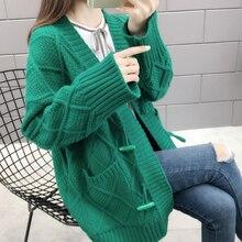 Milinsus Women Horn Button Cardigans Knitting Sweater Crochet Pocket Solid Color 2019 Autumn Winter New Women's Cardigan Coat