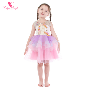 Kaiya Angel 2018 Unicorn Pearls Embroidery Flowers Mesh Dresses Party and Wedding Summer Elegant Princess Light Pink Bow Clothes