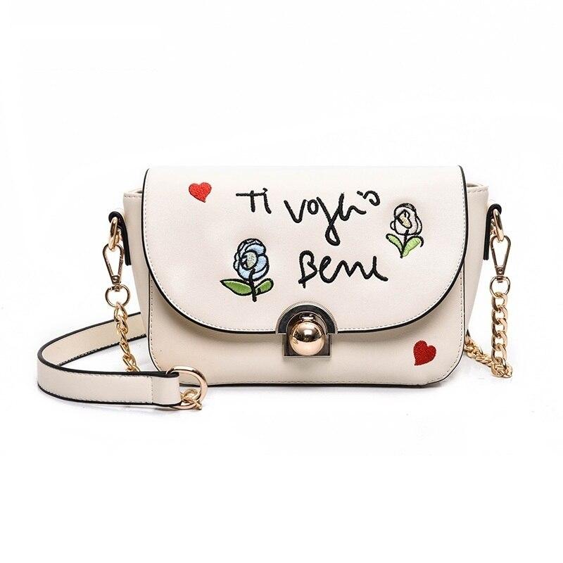 2018 New Design Women floral Roses Leather Messenger Shoulder Bags Chain Crossbody Bag Luxury Lady Party Clutch Handbag Bag 17