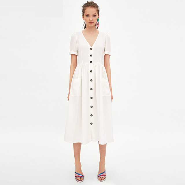 5edde71bd2e Linen White Midi Dress Vintage Button V Neck Casual Dress Women With  Pockets Summer Clothes For Women 2018