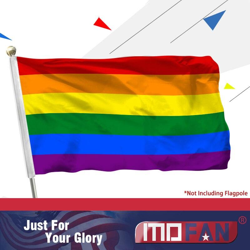 Vlajka MOFAN Rainbow Polyester Flag-Gay Pride Banner s mosaznými průchodkami LGBT Vlajka Gay Lesbian Equality Pride 3x5 Ft